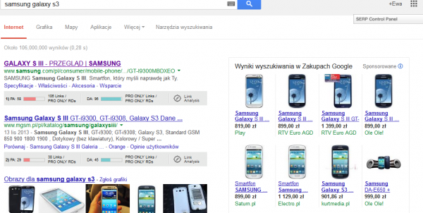 PLA reklamy z listą produktó Google
