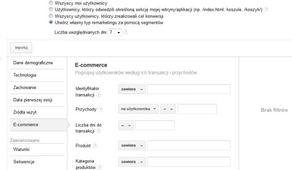listy remarketingowe Analytics