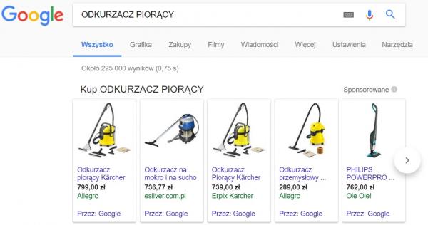 Reklama produktowa Google Adwords PLA